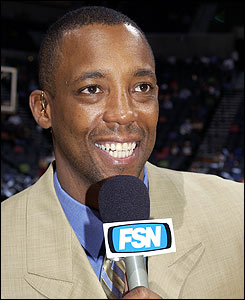 Sean Elliott, broadcasting today's Arizona Wildcats game at ASU, one of 17 UA sports personalities on air