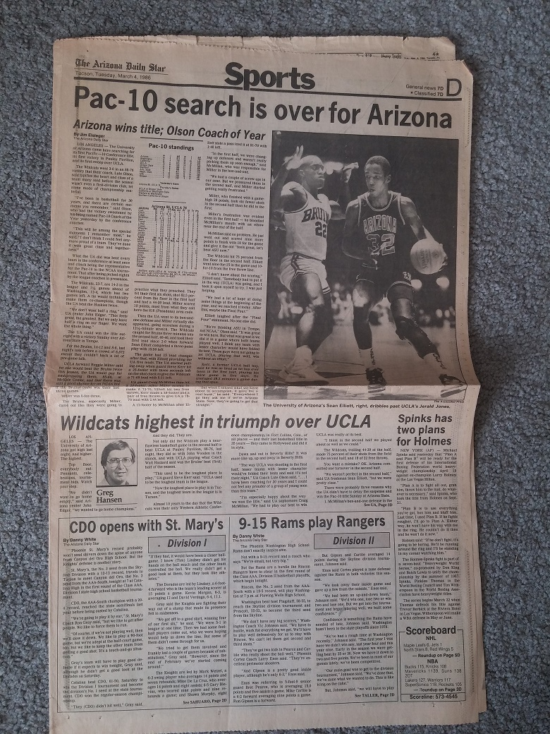 Throwback Thursday: Front page of Star after Arizona Wildcats won first Pac-10 title