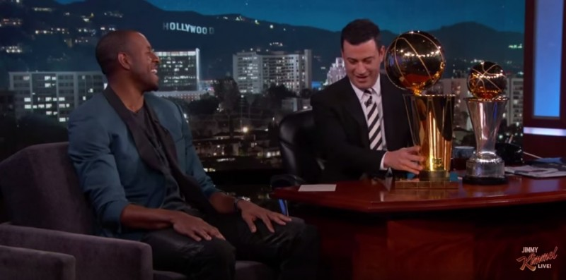 Iguodala to Kimmel about Kerr:  We have similar background with Olson as college coach