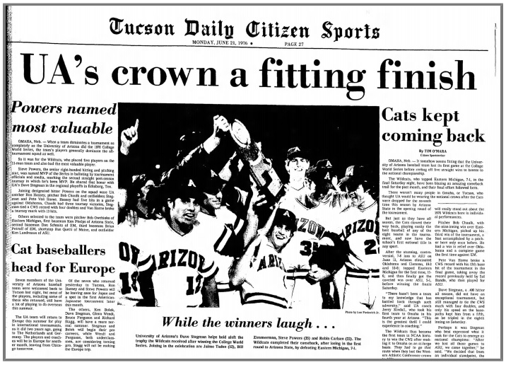 Win One For the Thumb: Reliving Arizona Wildcats' four CWS titles