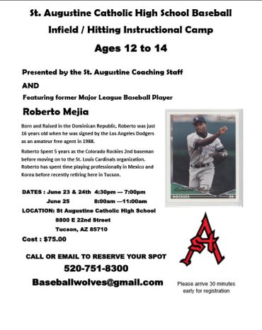 Roberto Mejia to host baseball camp at St. Augustine